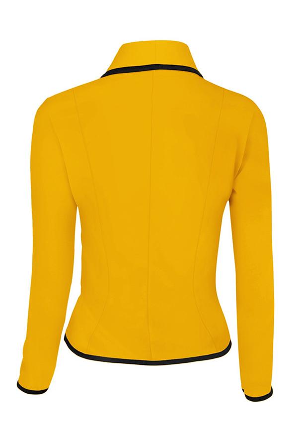 Lovely Trendy Buttons Design Yellow Blazer