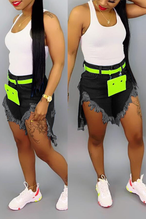 Lovely Chic Buttons Design Black Shorts