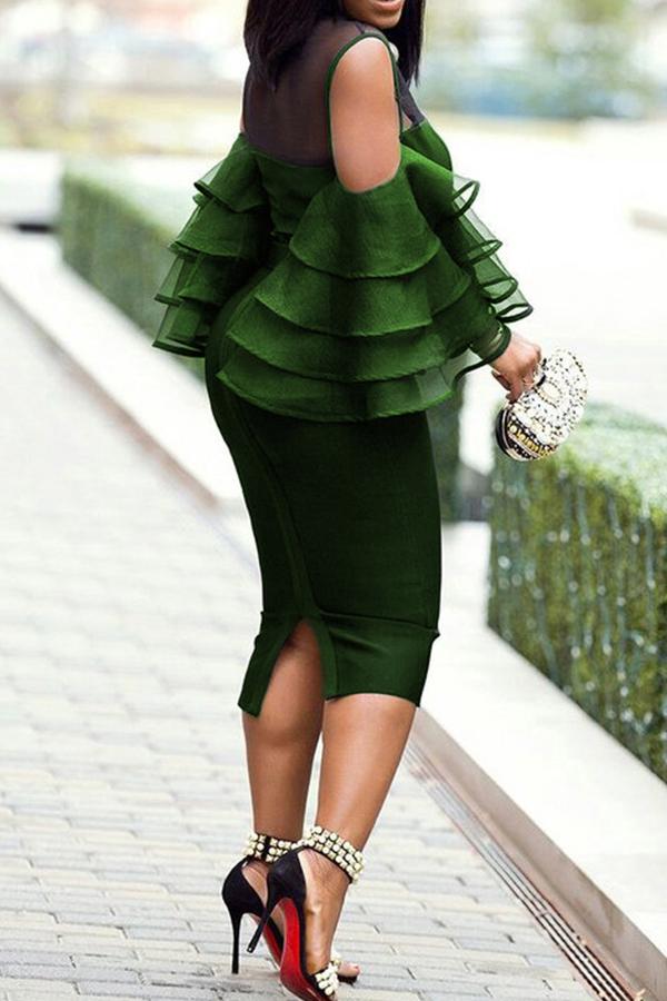 Lovely Casual Flounce Deep Green Mid Calf Plus Size Dress