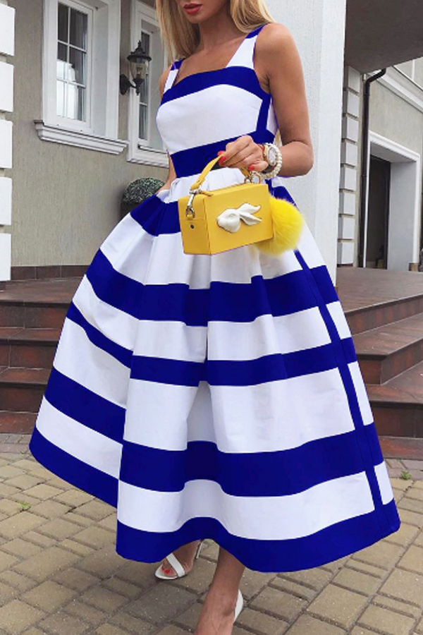 Lovely Casual Striped Print Blue Mid Calf Dress