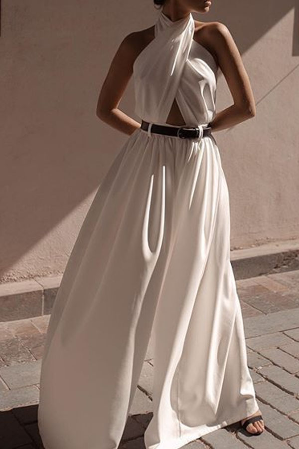 Lovely Chic Backless Loose White One-piece Jumpsuit