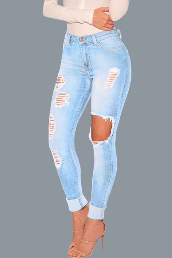 Lovely Chic Hollow-out Baby Blue Jeans