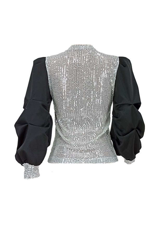 Lovely Casual Patchwork Black Blouse