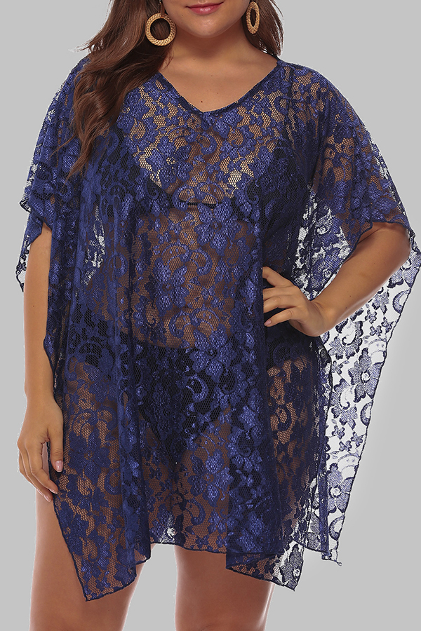 Lovely Chic See-through Blue Plus Size Beach Blouse