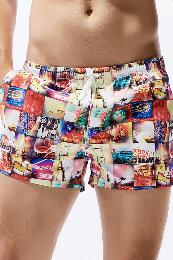 Lovely Chic Color-lump Patchwork Red Shorts