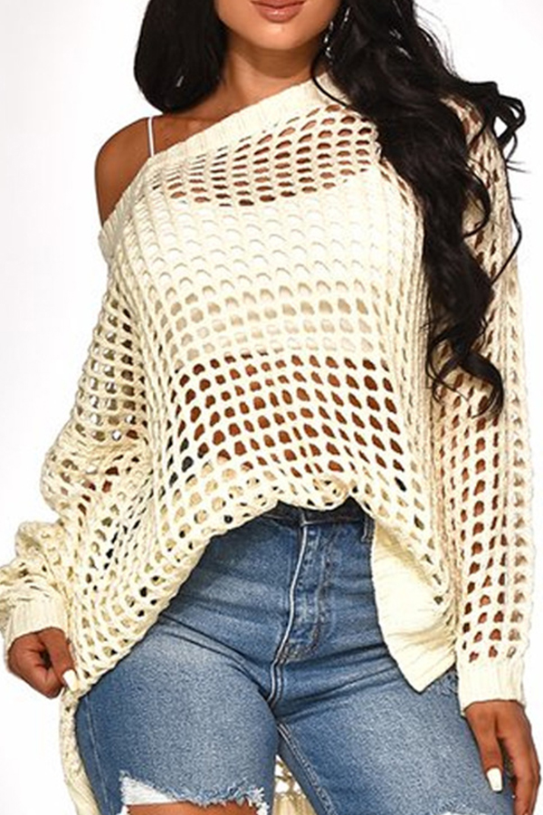 Lovely Casual Hollow-out White Sweater