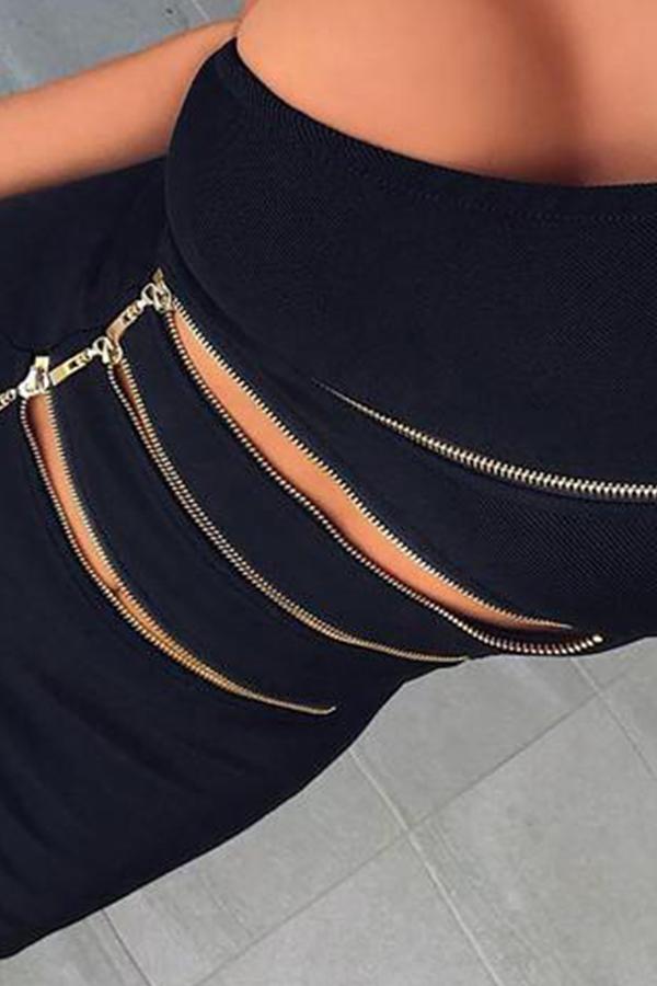 Lovely Chic One Shoulder Zipper Design Black Mini Dress