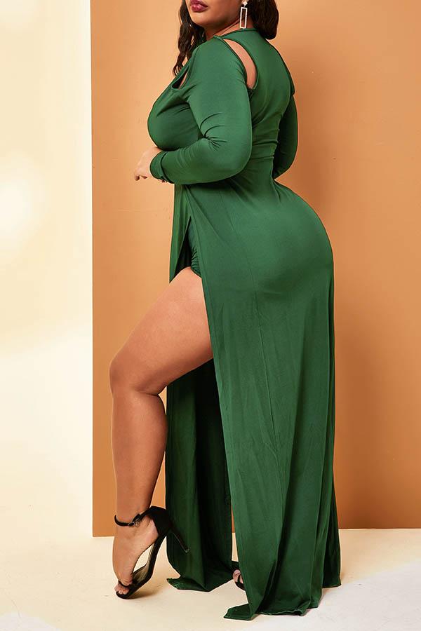 Lovely Casual V Neck Side High Slit Green Plus Size Dress