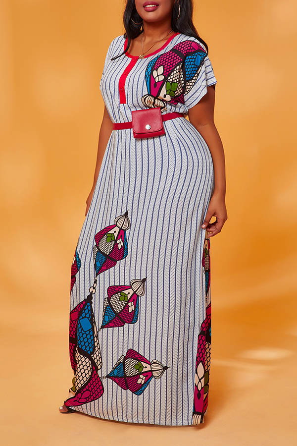 Lovely Casual Striped Grey Maxi Plus Size Dress