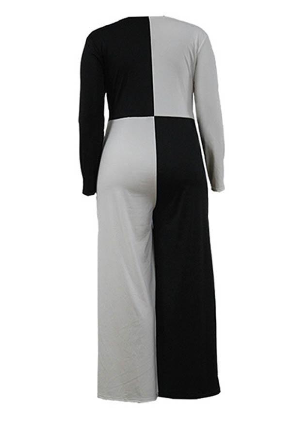 Lovely Chic Patchwork Black Plus Size One-piece Jumpsuit