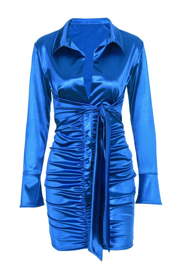 Lovely Trendy Deep V Neck Fold Design  Blue Mini Dress