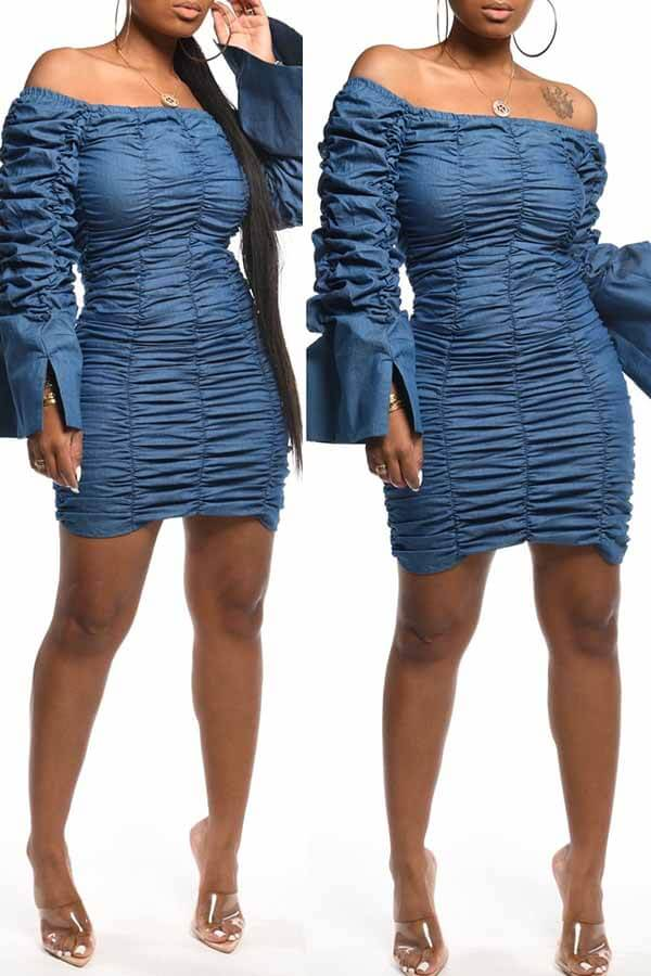 Lovely Casual Fold Design Blue Knee Length Dress