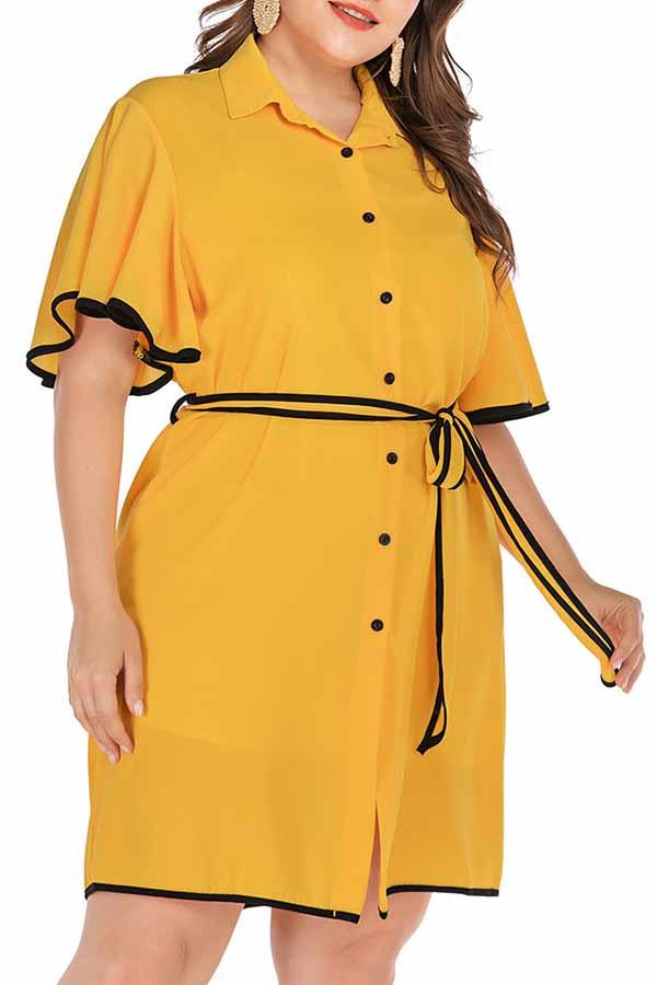 Lovely Casual Turndown Collar Flounce Yellow Knee Length Plus Size Dress