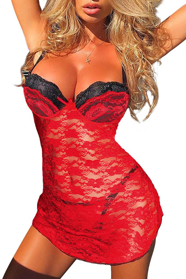 Lovely Sexy Patchwork Red Babydolls