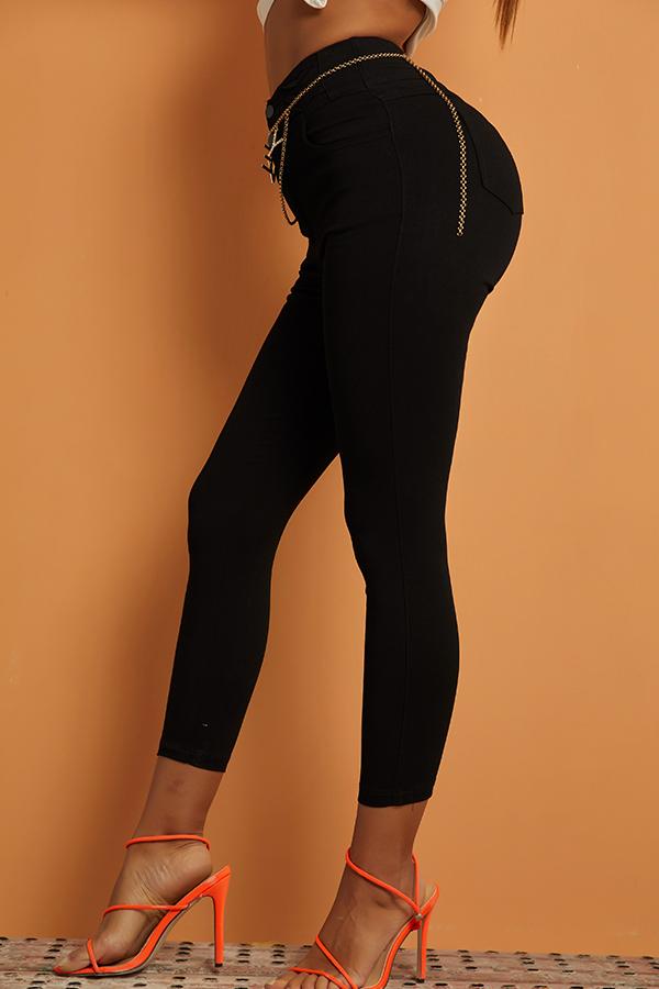 Lovely Casual Basic Black Jeans