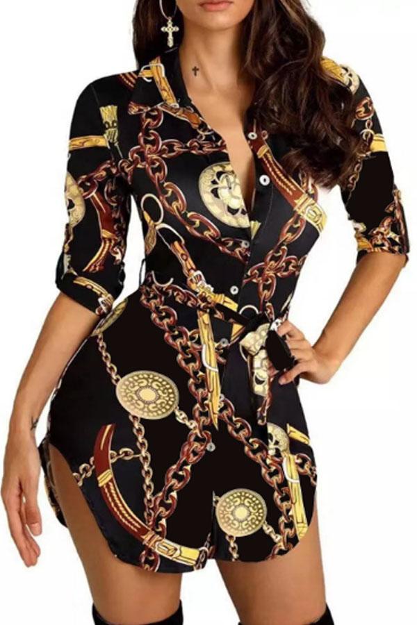 Lovely Casual Turndown Collar Print Black Mini Dress фото