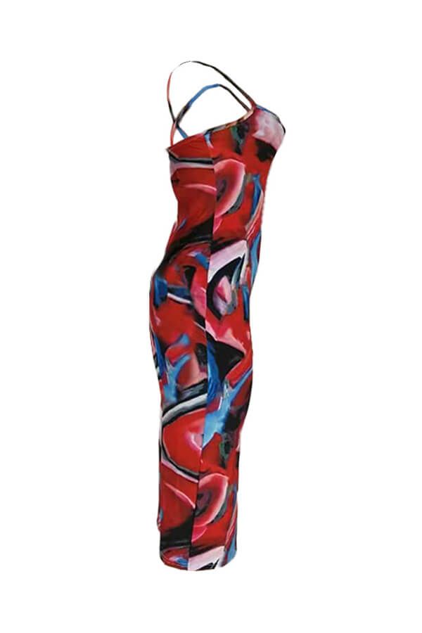 Lovely Casual Print Red Mid Calf  Dress