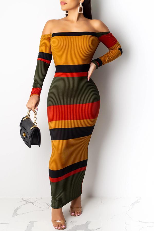 lovelywholesale / Lovely Trendy Striped Multiclor Ankle Length Dress