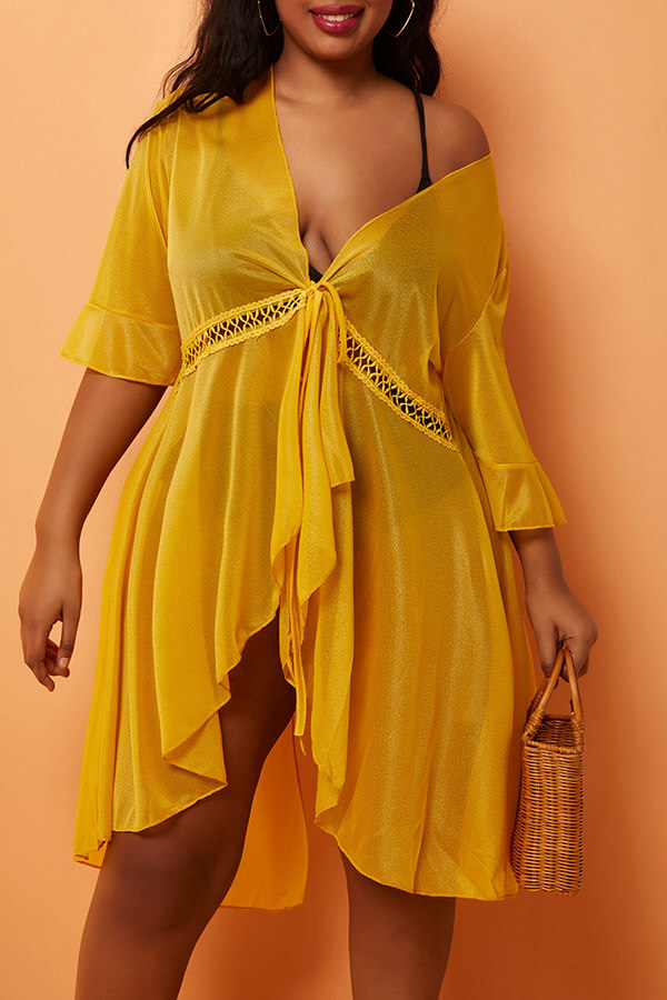Lovely Casual See-through Yellow Plus Size Cover-up