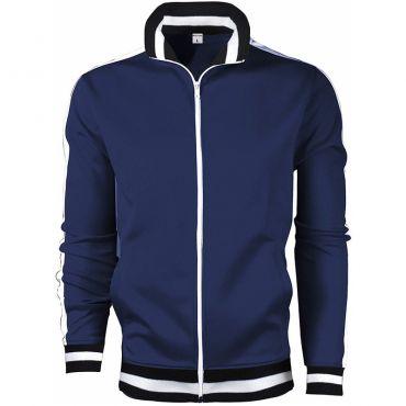Lovely Sportswear Mandarin Collar Zipper Design Navy Blue Hoodie