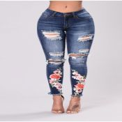 Lovely Casual Embroidery Design Blue Jeans