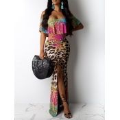 Lovely Sweet Flounce Leopard Print Ankle Length Dr