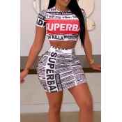 Lovely Casual Letter Print White Two-piece Skirt Set