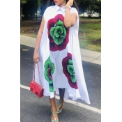 Lovely Casual Floral Print White Ankle Length Dres