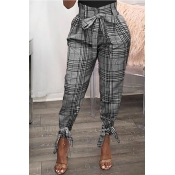 Lovely Chic Plaid Print Grey Pants