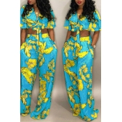 Lovely Chic Floral Print Baby Blue Two-piece Pants
