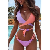 Lovely Sweet Lace-up Pink Two-piece Swimwear