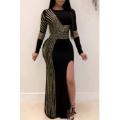 Lovely Party Patchwork Gold Maxi Dress