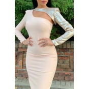Lovely Party Hollow-out Pink Mid Calf Dress
