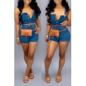 Lovely Casual Button Design Blue Two-piece Shorts Set