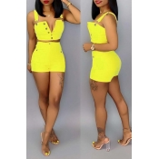 Lovely Casual Button Design Yellow Two-piece Shorts Set