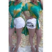 Lovely Chic Print Knot Design Green T-shirt