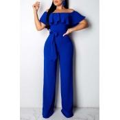 Lovely Stylish Flounce Blue One-piece Jumpsuit