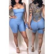 Lovely Trendy Backless Baby Blue One-piece Romper