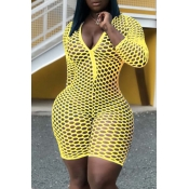 Lovely Trendy Hollow-out Yellow One-piece Romper