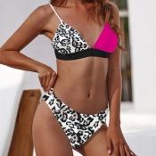Lovely Leopard Print Multicolor Two-piece Swimwear