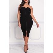 Lovely Chic Dew Shoulder Zipper Design Black Mid C
