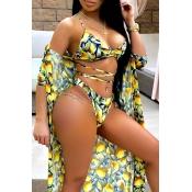 Lovely Print Yellow Two-piece Swimwear