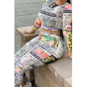 Lovely Casual Print Miulticolor Plus Size Two-piec