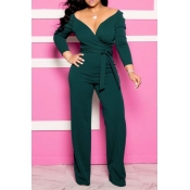 Lovely Chic Deep V Neck Green One-piece Jumpsuit
