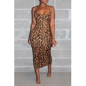 Lovely Casual Sleeveless Leopard Print Mid Length