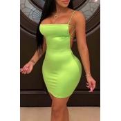Lovely Chic Backless Green Mini Dress