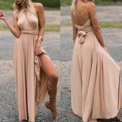 Lovely Chic Bandage Design Khaki Maxi Dress