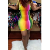 Lovely Sweet Striped Multicolor Mini Dress
