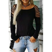 Lovely Casual Hollow-out Black T-shirt