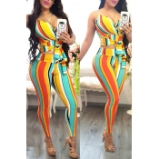 Lovely Sexy Striped Print Multicolor Two-piece Pan